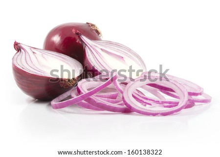 red onion with onion rings on white bachground - stock photo