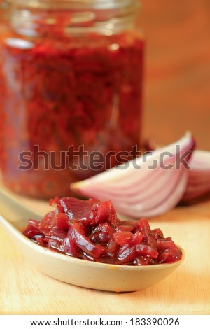 Red onions confit  - stock photo