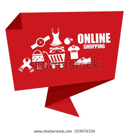 Red Online Shopping Origami Speech Bubble or Speech Balloon Infographics Sticker, Label, Sign or Icon Isolated on White Background - stock photo