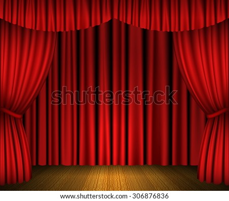 Red open curtains and wooden stage. Raster version - stock photo