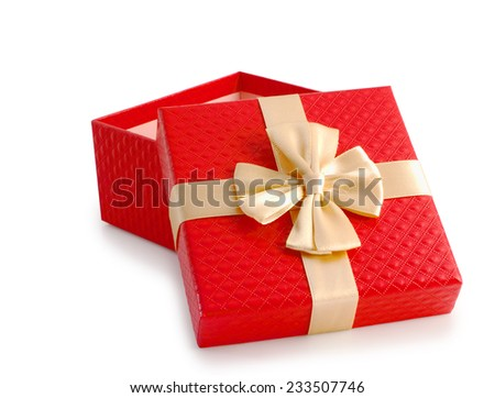 Red open empty gift box and gold ribbon isolated, clipping path. - stock photo