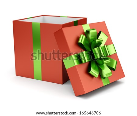 Red open gift box and lid with green bow and ribbon isolated on white background