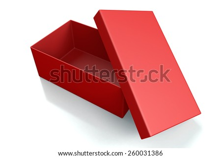 Red open shoe box isolated on white - top view