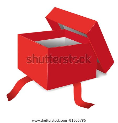 red opened gift box - stock photo