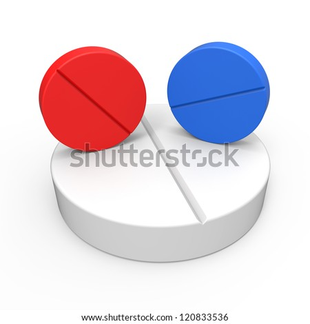 Red or blue pills - stock photo