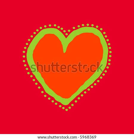 Red, orange and green painted heart - stock photo