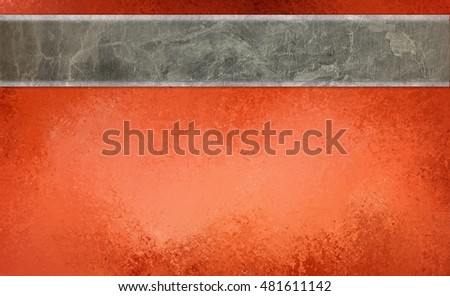 red orange background with blank marbled gray white and brown stripe or ribbon for text, halloween or thanksgiving background colors