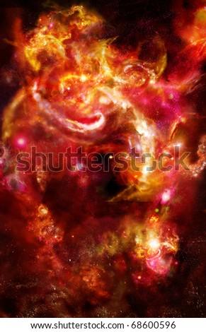 Red-orange nebula, bright vertical space - stock photo