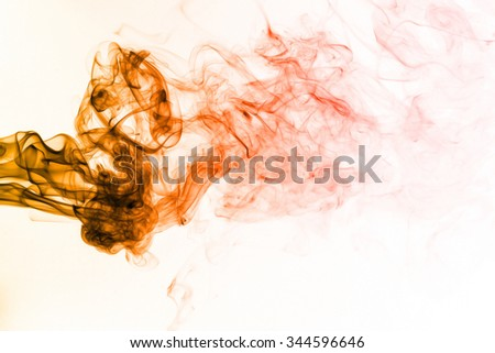 Red orange smoke pattern on white background