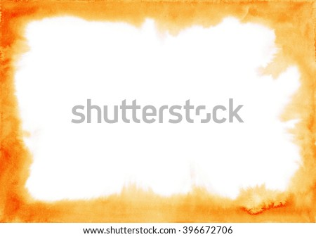 Red-orange watercolor delicate frame. Abstract background with blurred edges. This border you can decorate cards, postcards, invitation. Hand painted watercolour texture. Handdrawn backdrop - stock photo