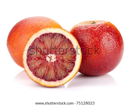 Red oranges. Isolated on white background