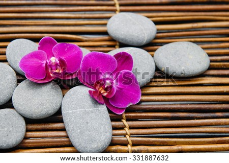 Red orchid with stones on bamboo mat  - stock photo