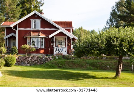 Red ordinary house in Sweden. - stock photo