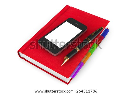 Red Organizer Notebook with Mobile Phone and Pen on a white background - stock photo