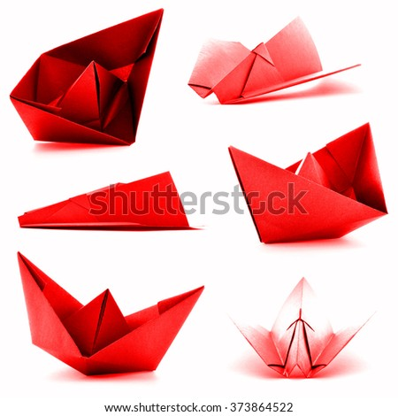 Red origami collection, airplane, ship photoset, isolated on white background - stock photo