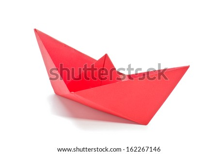 Red origami ship - stock photo