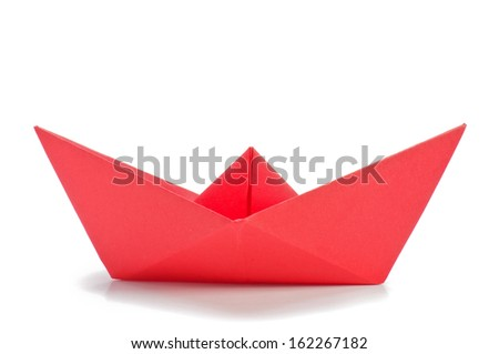 Red origami ship  side  - stock photo