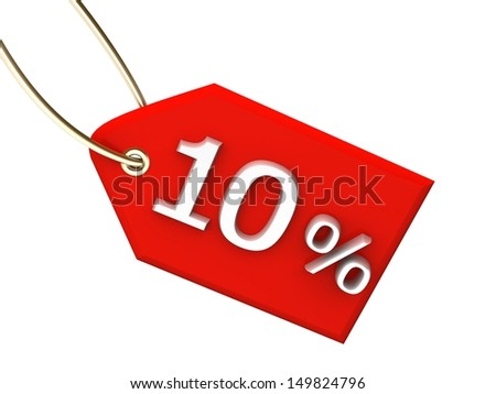 red outlet tag sale 10% - stock photo