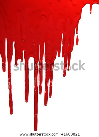Red paint â??bloodingâ? on white - stock photo