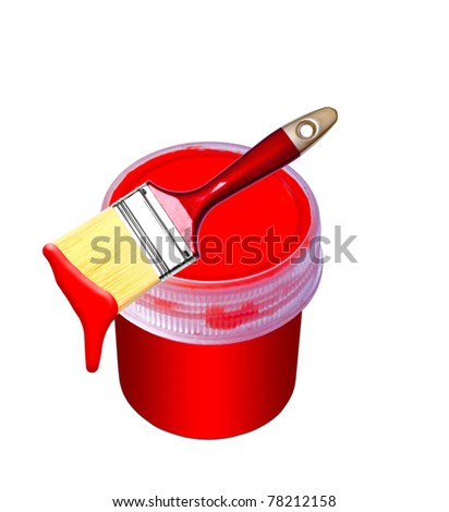 red paint bucket and brush - stock photo
