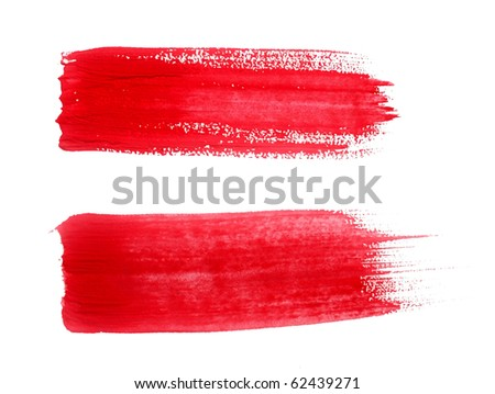 Red paint drawn with brush stroke - stock photo