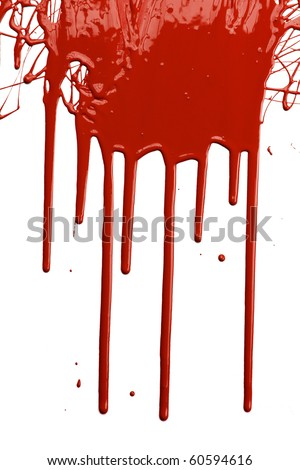 Red paint dripping isolated over white background - stock photo