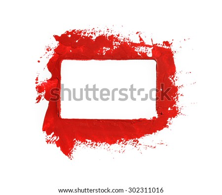 Red paint frame - stock photo