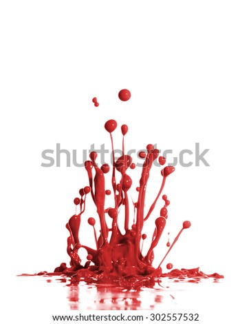 Red Paint Splash in White Background - stock photo