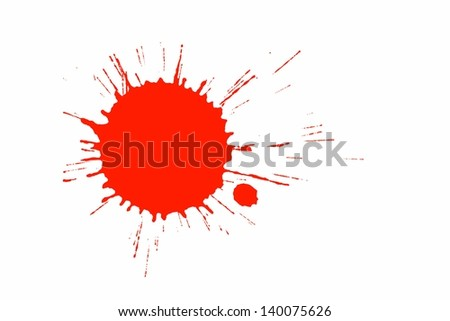 Red paint splashed on white - stock photo