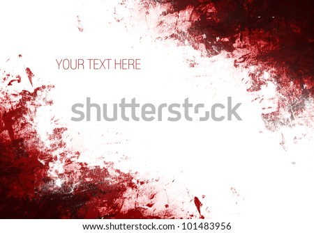 Red Paint Splashes frame on a white background - stock photo