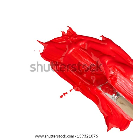 Red paint with paint brush over white background with copy space - stock photo