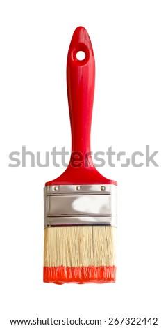 red paintbrush isolated on white  - stock photo