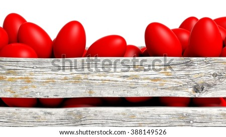 Red painted Easter eggs in wooden container, isolated on white. - stock photo