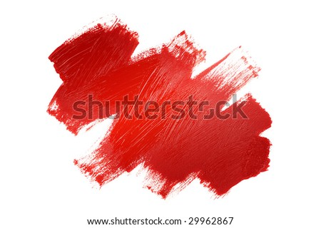 Red painted line - stock photo