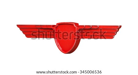 Red painted metal wings isolated on white background left view. 3d render - stock photo