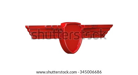 Red painted metal wings isolated on white background right view. 3d render