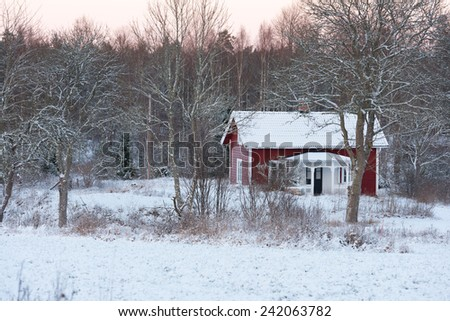 Red painted wooden cottage in the woods of southern Sweden (Hoegsby Kommun,Smaland) in winter - stock photo