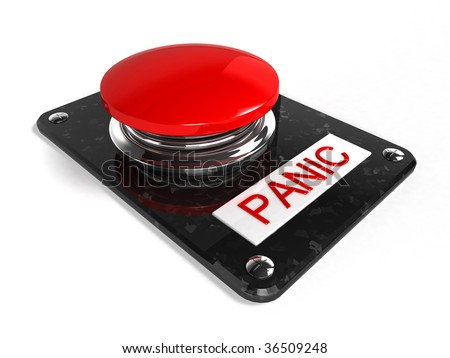 red panic button - stock photo