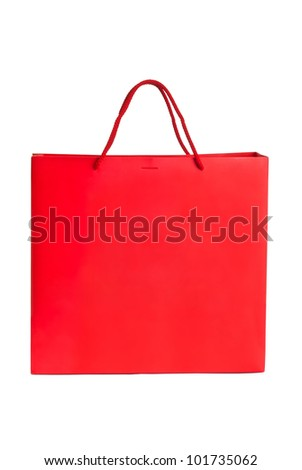 Red paper bag for shopping - stock photo