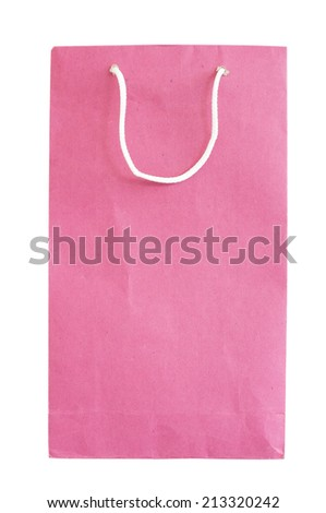 Red paper bag isolated on white with clipping path.  - stock photo