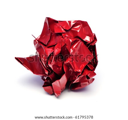 red paper ball isolated on white - stock photo