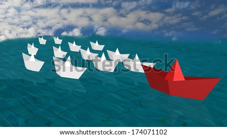 red paper boat outstanding leader - sea clouds - stock photo