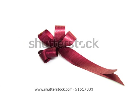 Red paper bow isolated on a white background - stock photo