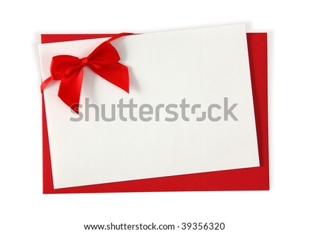 Red paper envelope with white card isolated on white background - stock photo