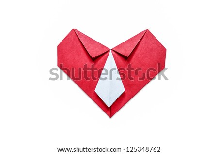 Red paper Heart and white necktie on a white background. Paper craft  and origami. - stock photo