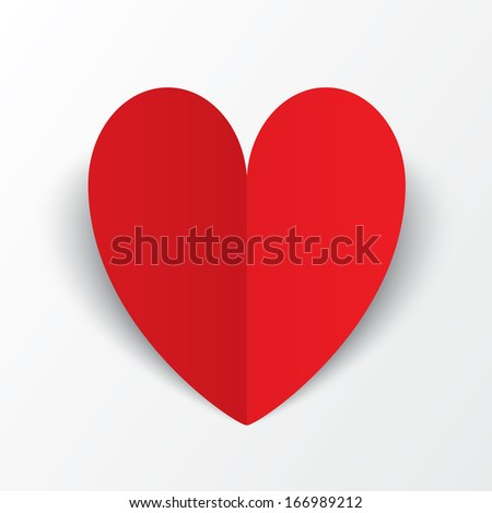 Red paper heart Valentines day card on white background. Abstract background with heart. Paper heart cut from paper.