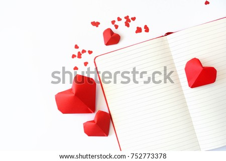 Red Paper Hearts Origami Notebook On Stock Photo Royalty Free