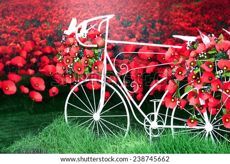 Red paper poppies bike. - stock photo