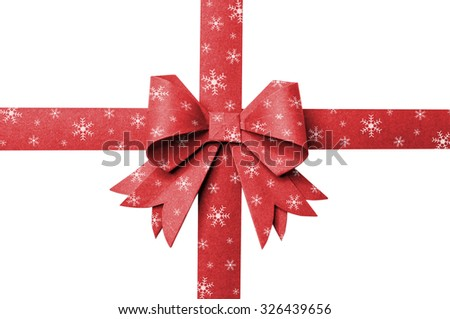 Red paper ribbon stripes snowflake on a white background. - stock photo