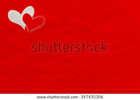 Red Paper Textured Background with hearts